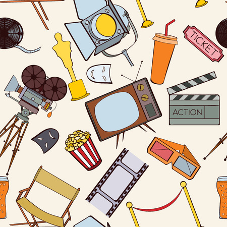 cinematographer: Seamless cinema pattern can be used for wallpaper, website background, wrapping paper. Cinema vector bright pattern. Film design. Movie concept. Illustration