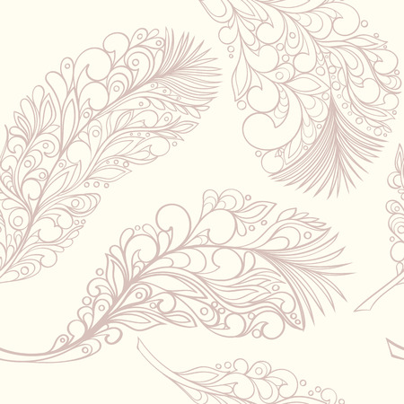 feathering: Seamless feather style pattern can be used for wallpaper, website background, wrapping paper. Feather hand-drawn vector bright pattern. Natural concept.