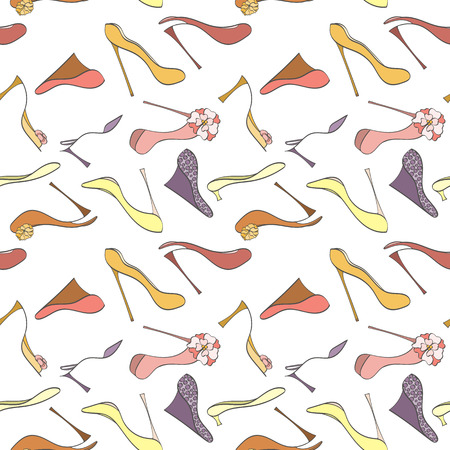 high heels: Seamless shoes pattern can be used for wallpaper, website background, wrapping paper. High heels shoes vector bright pattern. Shoes design. Fashion concept. Illustration