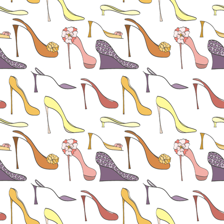 heels shoes: Seamless shoes pattern can be used for wallpaper, website background, wrapping paper. High heels shoes vector bright pattern. Shoes design. Fashion concept. Illustration