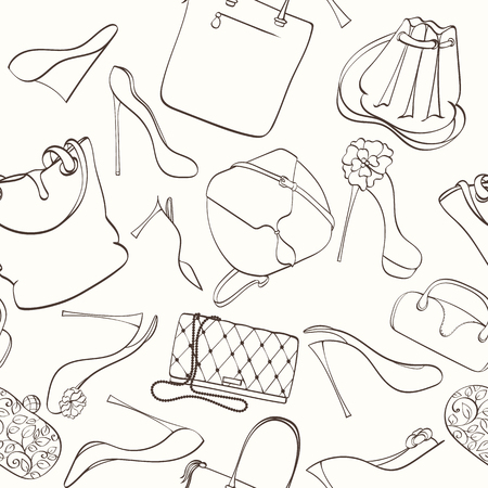 high heels: Seamless women fashion pattern can be used for wallpaper, website background, wrapping paper. Fashion women bag and shoes vector bright pattern. Bag and high heels design. Fashion concept.