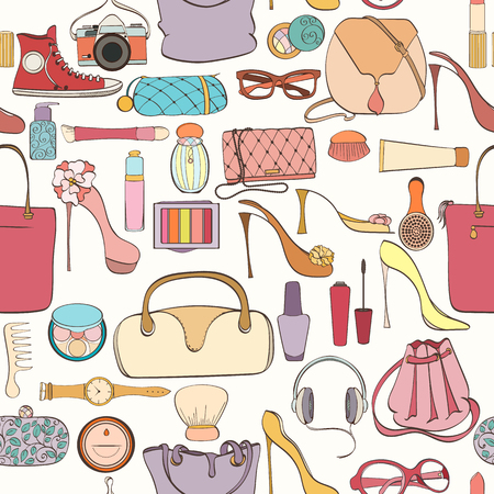 Seamless women bag stuff pattern can be used for wallpaper, website background, wrapping paper. Women cosmetic vector bright pattern. Bag design. Fashion concept. Ilustração
