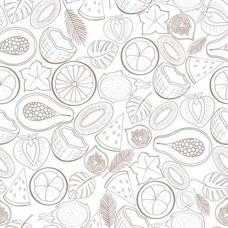 motif de fruits exotiques Seamless peut être utilisé pour le papier peint, fond site, papier d'emballage. conception Holliday. concept alimentaire. Vector illustration
