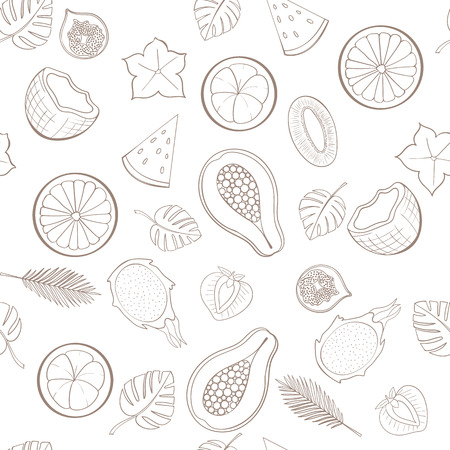 holliday: Seamless exotic fruit pattern can be used for wallpaper, website background, wrapping paper. Holliday design. Food concept. Vector illustration
