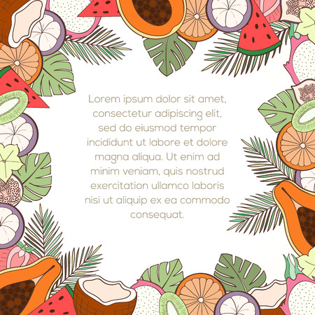 holliday: Exotic fruit invitation card can be used for holiday cards, wedding invitation, postcard or website. Healthy food frame for menu. Tropical plants template, detox program. Holliday design. Food concept