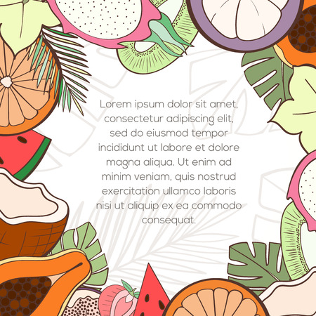 inking: Exotic fruit invitation card can be used for holiday cards, wedding invitation, postcard or website. Healthy food frame for menu. Tropical plants template, detox program. Holliday design. Food concept