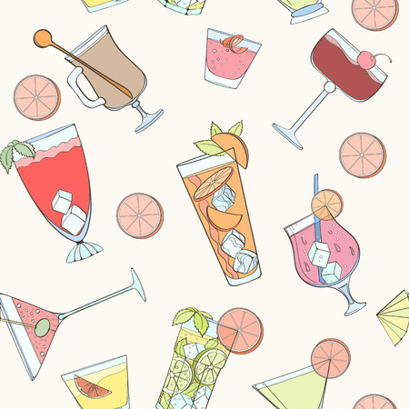 coctail: Seamless coctail pattern can be used for wallpaper, website background, wrapping paper. Summer coctail natural bright pattern. Summer design. Food concept. Illustration