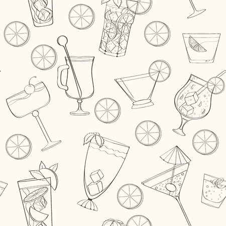 Seamless coctail pattern can be used for wallpaper, website background, wrapping paper. Summer coctail natural bright pattern. Summer design. Food concept. Vektorové ilustrace