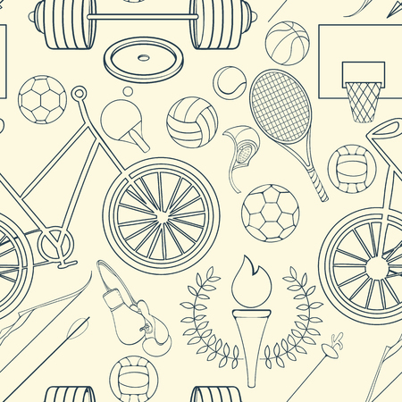 biking glove: Seamless sport pattern can be used for wallpaper, website background, wrapping paper. Sport equipment bright pattern. Sport competition design. Sport concept.
