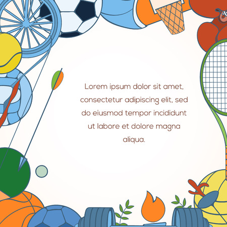 biking glove: Sport invitation card can be used for holiday cards, wedding invitation, postcard or website. Sport equipment invitation banner. Sport competition design. Sport concept.