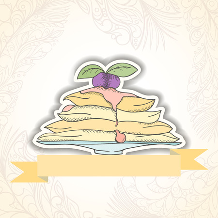 holiday invitation: Pancakes invitation card can be used for holiday cards, wedding invitation, postcard or website. Birthday party invitation. Holiday concept. Menu template