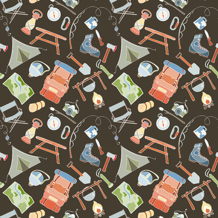 hike: Seamless pattern of camping gear elements can be used for wallpaper, website background, wrapping paper. Hand drawn tourist illustration. Camping equipment vector collection. Hike outdoor elements
