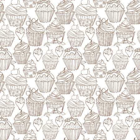 sweat: Cupcakes colorful seamless pattern can be used for wallpaper, website background, wrapping paper. Cupcake sweat bright pattern. Sweat desert design. Food concept. Stock Photo