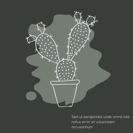 flowerpots: Cactus invitation card can be used for holiday cards, wedding invitation, postcard or website. Cactus vector invitation banner. Floral design. Art concept.