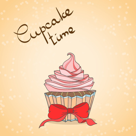 Cupcake card. Invitation of sweat cupcakes. Cupcake background can be used as invitation card for wedding, birthday and other holiday and summer background. Vector illustration. Stock Photo