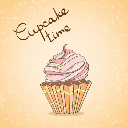 engagement party: Cupcake card. Invitation of sweat cupcakes. Cupcake background can be used as invitation card for wedding, birthday and other holiday and summer background. Vector illustration. Illustration