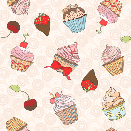 sweat: Cupcakes colorful seamless pattern can be used for wallpaper, website background, wrapping paper. Cupcake sweat bright pattern. Sweat desert design. Food concept. Illustration