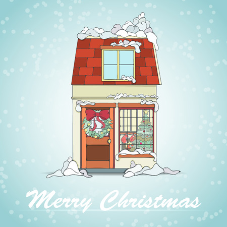 emplate: Christmas and New Year card can be used for holiday cards, invitation, postcard or website. Christmas house in snow. Illustration
