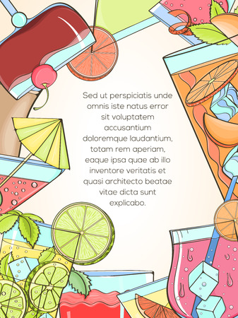 Colorful hand drawn cocktails, vector illustration can be used for menu illustration, cards, invitation, postcard or website banner. Cocktail glass with straw, umbrella, orange, lime, mint Vetores