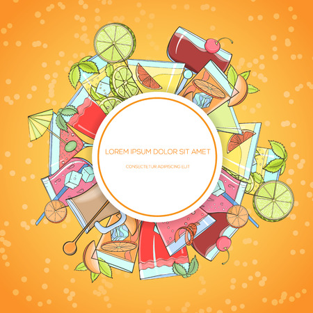 Colorful hand drawn cocktails, vector illustration can be used for menu illustration, cards, invitation, postcard or website banner. Cocktail glass with straw, umbrella, orange, lime, mint