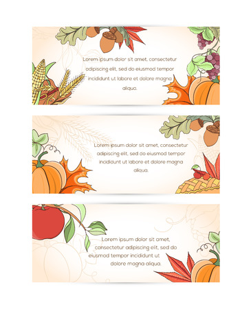 Thanksgiving banner can be used for can be used for holiday cards, invitation, postcard or website. Autumn bright flyer. Holiday design of pumpkin, apple, pie, corn, hat, grapes, acorn