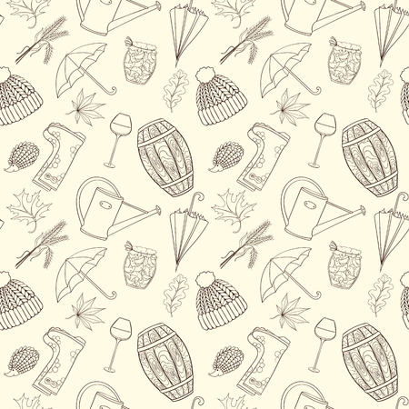 cask: Autumn seamless pattern can be used for wallpaper, website background, wrapping paper. Autumn elements design of rubber boots, hat, grapes, acorn, umbrella, vine glass, wine cask, jam, watering can