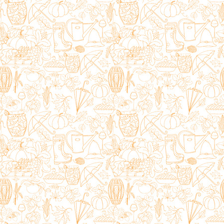 wine grapes: Autumn seamless pattern can be used for wallpaper, website background, wrapping paper. Autumn elements design of rubber boots, hat, grapes, acorn, umbrella, vine glass, wine cask, jam, watering can
