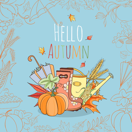 golden apple: Autumn invitation card can be used as invitation card, postcard or website banner. Season hand drawn greeting card. Vector illustration. Illustration