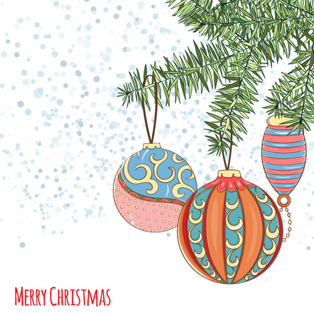Christmas and New Year invitation card. Hand drawn vector illustration of balls on light background. Winter holiday collection