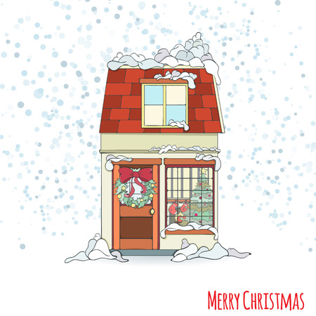 Christmas and new year house invitation card hand drawn city christmas and new year house invitation card hand drawn city vector illustration of winter decorated stopboris Images