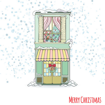 christmas eve: Christmas and New Year house invitation card. Hand drawn city vector illustration of winter decorated house on light background Winter holiday collection Illustration