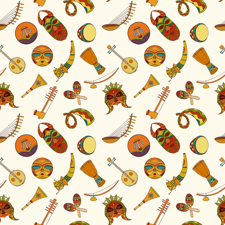 djembe drum: Hand-drawn seamless african music pattern. Vector illustration can be used for wallpaper, website background, wrapping paper. Sketch elements of musical instruments drum, shakers, horn, kora, djembe