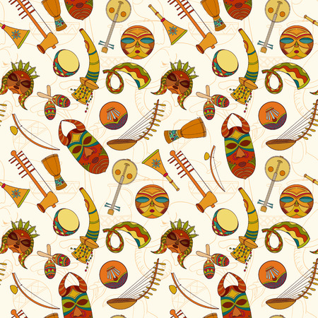 djembe: Hand-drawn seamless african music pattern. Vector illustration can be used for wallpaper, website background, wrapping paper. Sketch elements of musical instruments drum, shakers, horn, kora, djembe