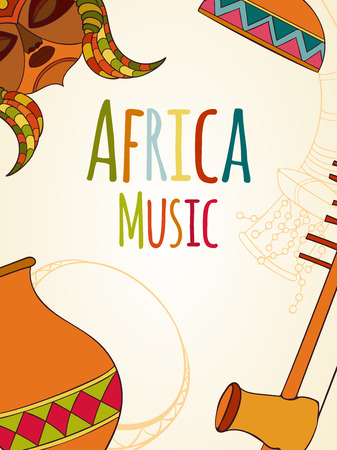 rasta colors: Hand-drawn africa music card Vector illustration can be used for holiday cards, invitation, postcard, banner, flyer or website Sketch elements of musical instruments drum, shakers, horn, kora, djembe