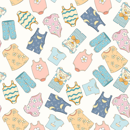 Hand-drawn seamless pattern of children clothes. Vector illustration can be used for wallpaper, website background, wrapping paper. Sketch elements of cartoon baby outfit