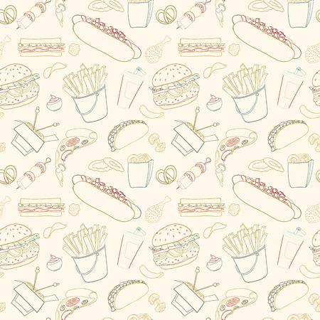 Dibujado a mano vector de patrón de comida rápida sin problemas. Los elementos de comida del bosquejo del Doodle se pueden utilizar para fondos de escritorio, fondo de página web, envolviendo invitación de papel, folleto, banner y la cubierta. Ilustración de vector