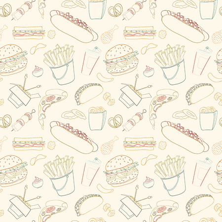 Hand-drawn vector seamless fast food pattern. Sketch doodle food elements can be used for wallpaper, website background, wrapping paper invitation, flyer, banner and cover.