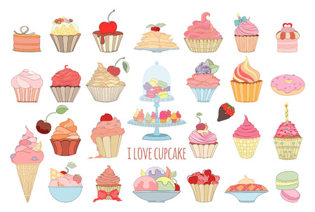 Hand drawn set of doodle style sweet elements of cupcake and icecream. Vector illustration can be used for invitation, banner template, card, flyer, sale, website, menu of bakery or restaurant