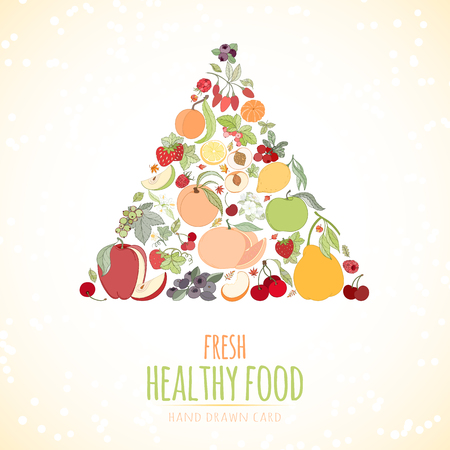 The Fruits and the text Illustration