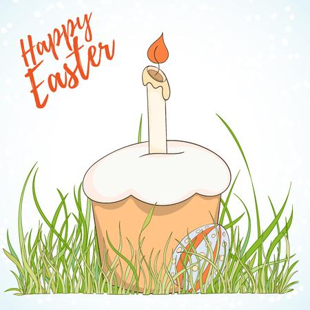 Happy Easter hand drawn retro card Illustration