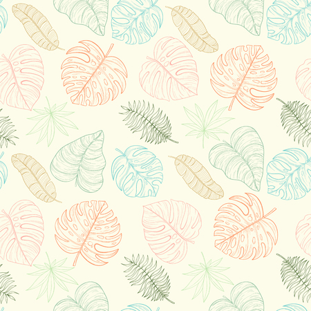 painting: Seamless tropical palm leaves pattern