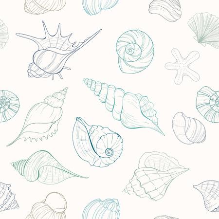 coastal: Seashell seamless pattern