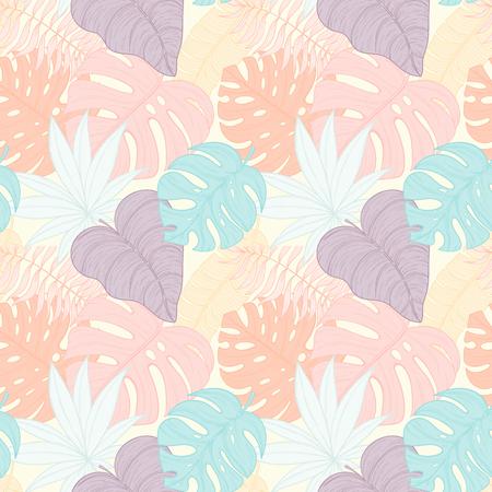 liana: Seamless tropical palm leaves pattern