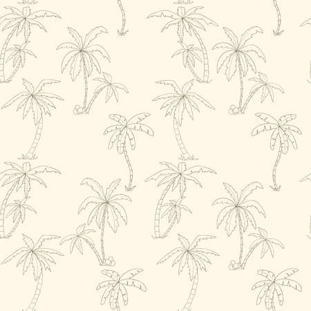 liana: Seamless tropical palms pattern. Summer endless hand drawn vector background of palm trees can be used for wallpaper. Illustration