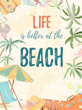 Hand drawn holiday travel card. Summer vector illustration of umbrella, sunbed, palm, shell, travel bag, sunglasses, hat can be used as invitation, postcard, menu, flyer banner or website decoration. Vectores