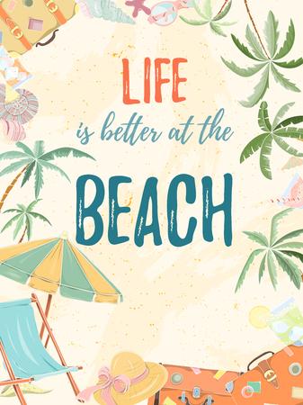 Hand drawn holiday travel card. Summer vector illustration of umbrella, sunbed, palm, shell, travel bag, sunglasses, hat can be used as invitation, postcard, menu, flyer banner or website decoration. Illustration