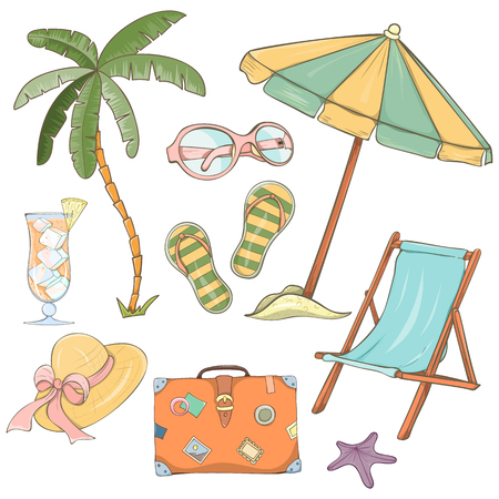 Set of hand drawn holiday travel elements. Summer vector illustration of umbrella, sunbed, palm, shell, travel bag, sunglasses, hat can be used as invitation, menu, banner or website decoration.