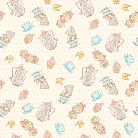 Seamless tea time pattern illustration on white background.