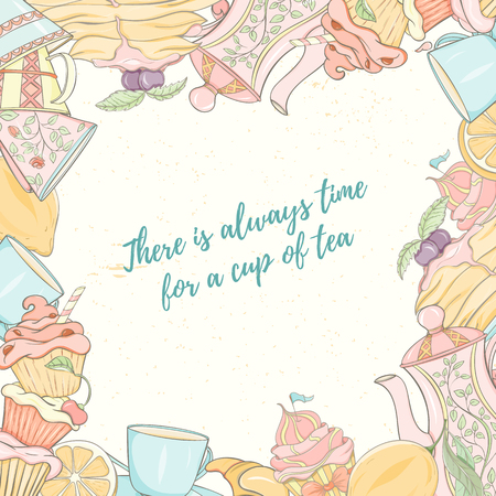 Tea time invitation card with there is always time for cup of tea lettering, tea and food. Ilustrace