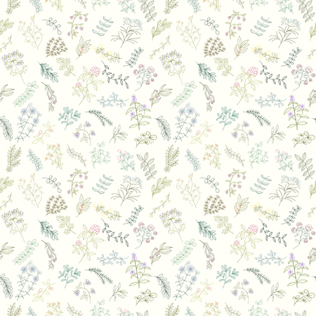 Seamless pattern of branches, flowers, herbs and leaves. Hand drawn vector illustration of can be used for wallpaper, website background, wrapping paper, invitation, flyer, banner or website Ilustracja